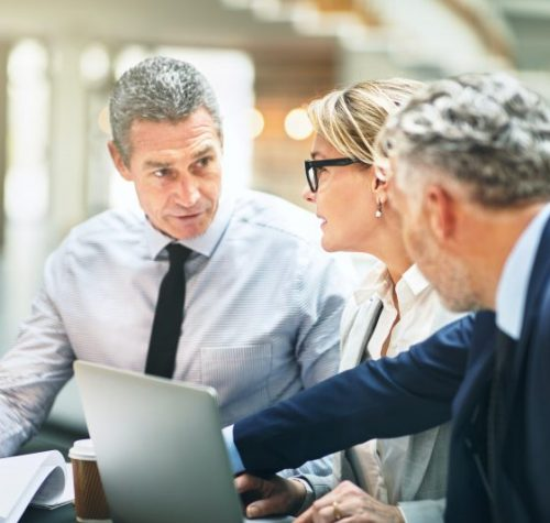 Mature business executives meeting together in a modern office